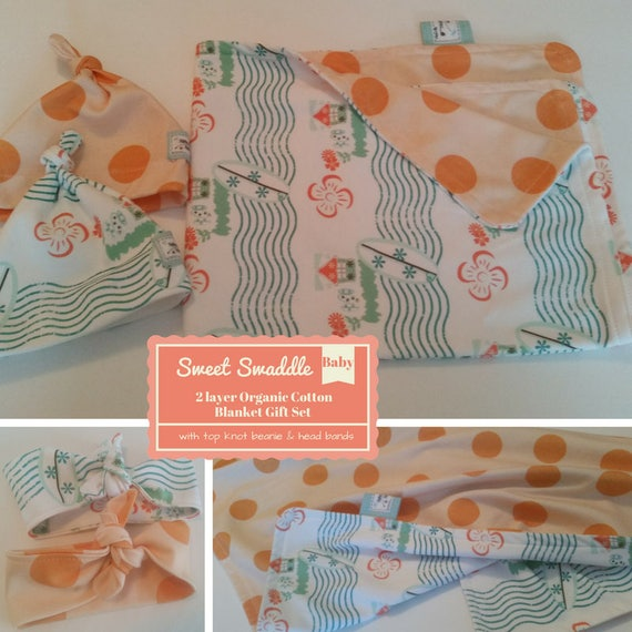 READY to SHIP Sweet Swaddle Baby Gift Set - Organic Cotton Reversible Baby Blanket & Newborn Beanie/Headband Set -Retro Surf Polka Tangerine
