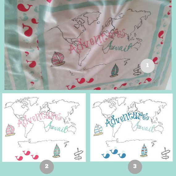 Toddler / Baby Blanket - World Map Dolphins - organic cotton,minky blanket, 24x32 Newborn, 32x50 Toddler Kids Blanket
