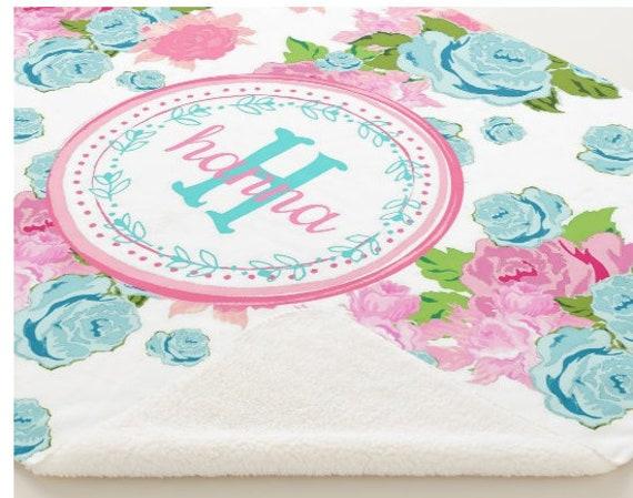 PERSONALIZED Minky Sherpa Blanket - Toddler / Baby Blanket / Sham - Crib Blanket,  24x32 Newborn, 32x50 Toddler Kids - Rose Tropical Bouquet