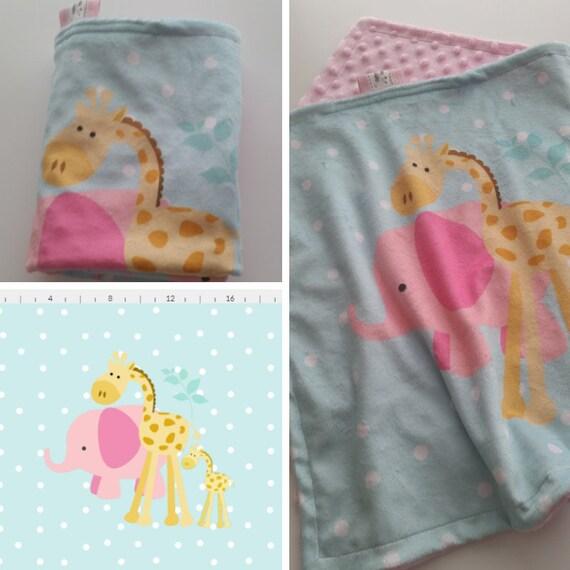 In Stock - LOVIE 2 layerMinky Baby Security Blanket - Elephant Giraffe Polka Dots - mint / pink