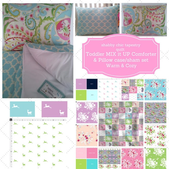 Mix it Up Toddler Comforter Set - Wild & Free Shabby Chic Quilt Custom Bedding, Pillow Case / Sham, Kids Comforter Set