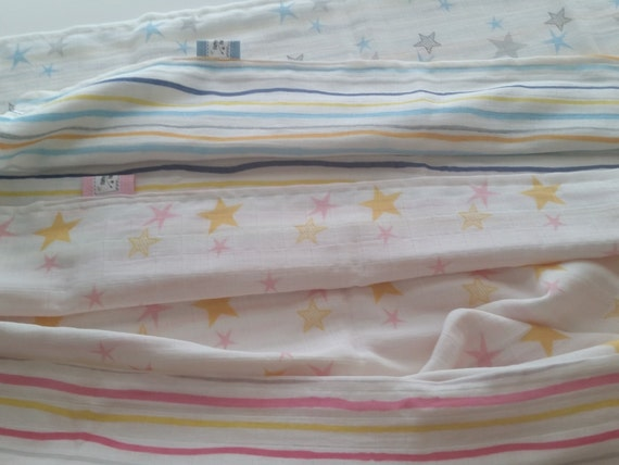 READY to SHIP 2 Layer Muslin Blanket - Organic Sweet Pea Gauze Reversible Newborn / Baby Blanket - Stars & Stripes Pink and Blue