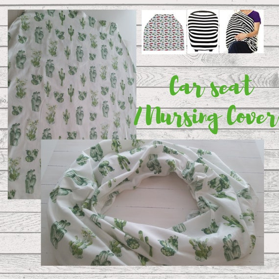 In Stock -Cactus Car Seat Canopy Cover  / Nursing Scarf / Breastfeeding Scarf - | Baby Boy, Baby Girl Shopping Cart Cover, Gender Neutral