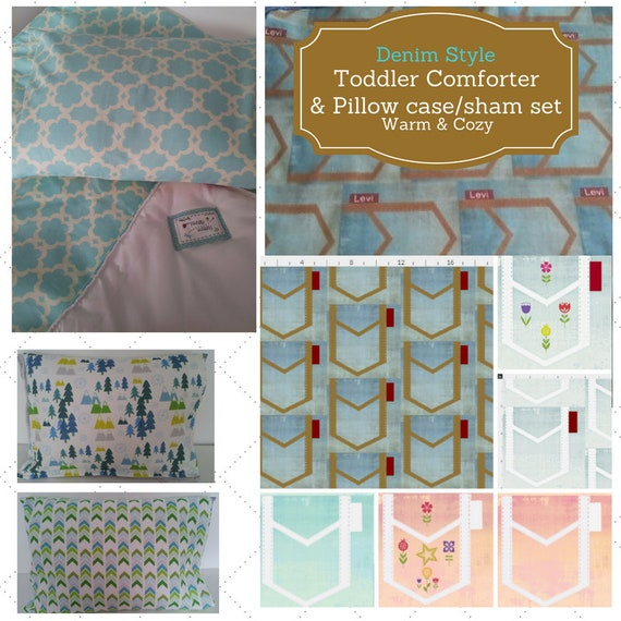 Toddler Comforter Set - Denim Stryle, Custom Bedding, Pillow Case / Sham, Kids Comforter, Shabby Chic, Retro Mod, Farmhouse Bedding