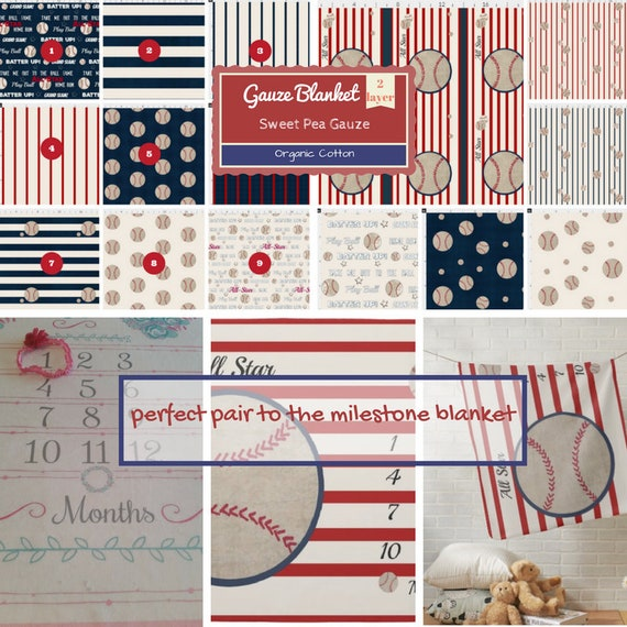 OVERSIZED 2 layer Double Gauze Muslin Blanket/ Organic Gauze TWIN Toddler Throw /CHOOSE pattern - Baseball Stripes All Star