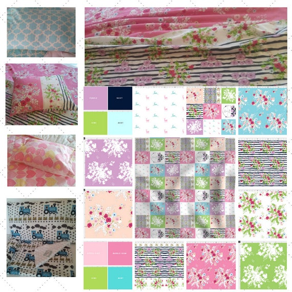Toddler Cotton Blanket Set - Shabby Chic  Bedding, Pillow Case / Sham, Kids Cotton & Minky Blanket