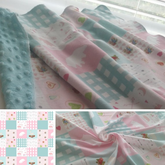 Bear Plaid Quilt Pink Mint | READY to SHIP Organic Cotton Baby Crib Blanket/ Toddler Blanket, Stroller/Car Blanket with Minky Dot Back