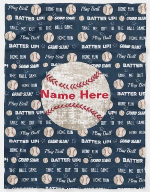 PERSONALIZED Plush, Fleece, Sherpa Blanket - Toddler & Baby Blanket, Pillow - Newborn Blanket, Kids Throw - Baseball Navy