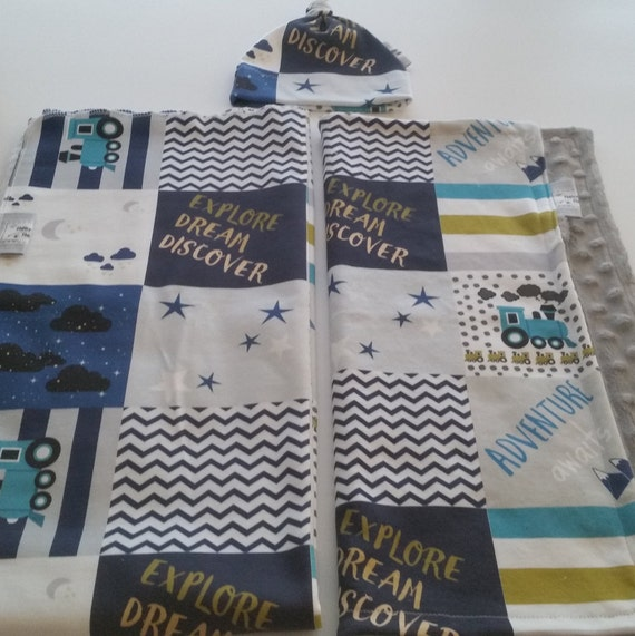 In Stock - Newborn Gift Set - Swaddle Receiving Blanket / Hat / Lovie | Organic Jersey Knit Baby Boy Hospital Blanket - Train Quilt Blue