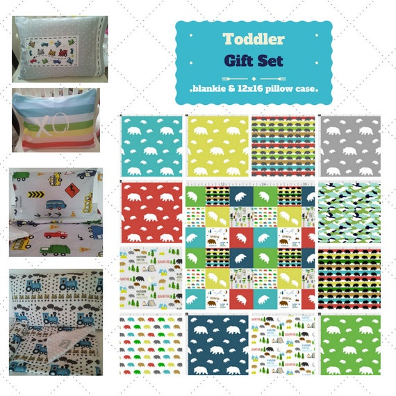 Toddler Cotton Blanket Set - Bear Camp Quilt Custom Bedding, Pillow Case / Sham, Kids Cotton & Minky Blanket