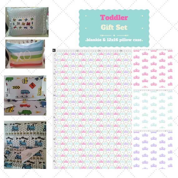 Toddler Cotton Blanket Set - Tiara Princess Fun Custom Bedding, Pillow Case / Sham, Kids Cotton & Minky Blanket