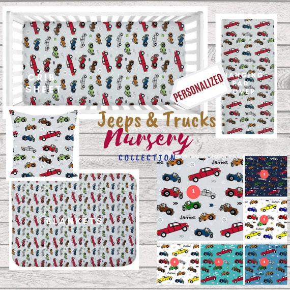 PERSONALIZED Jeeps & Pickup Trucks | Cars and Trucks Baby Boy Nursery / Toddler Bedding - Crib Sheet, Blanket, Changing Pad Cover, Pillow
