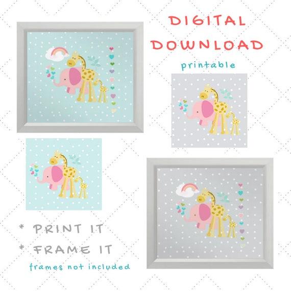 Digital Download - Girl Nursery Wall Art - Pink Elephant Giraffe Rainbow and Hearts Polka Dot Gray & Seaglass - set of 4 Printables
