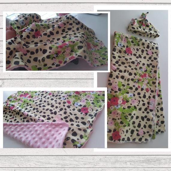 Newborn Gift Set - Swaddle Receiving Blanket / Top Knot Hat / Lovie | Organic Jersey Knit Baby Girl Hospital Blanket - Cheetah Floral