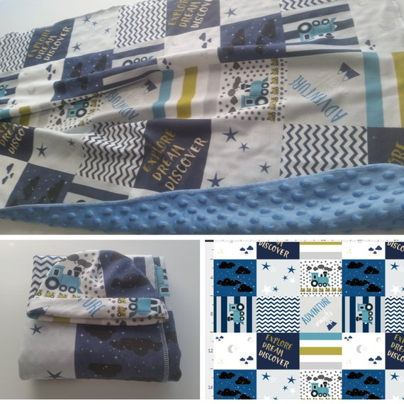 Organic Newborn Blanket & Beanie Gift Set  - Jersey Knit with Blue Minky Dot | Hospital Receiving Blanket - Trains Quilts