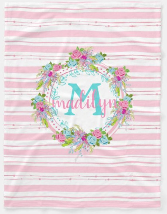 Personalized Boho Floral Blanket - Pink Floral Stripes Baby Girl & Toddler size Plush and Minky Sherpa Name Monogram Blanket