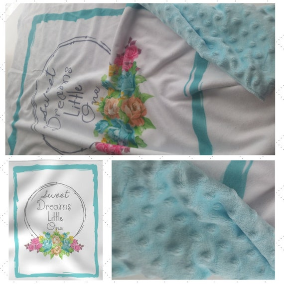 Sweet Dreams Little One| READY to SHIP Minky Baby Blanket/ Toddler Blanket, Stroller/Car Blanket with Baby Tiffany Blue Minky Dot Back