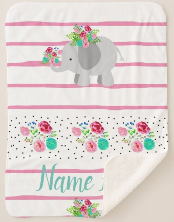 Personalized Elephant Blanket - Pink Floral Stripes Baby Girl & Toddler size Plush and Minky Sherpa Name Monogram Blanket