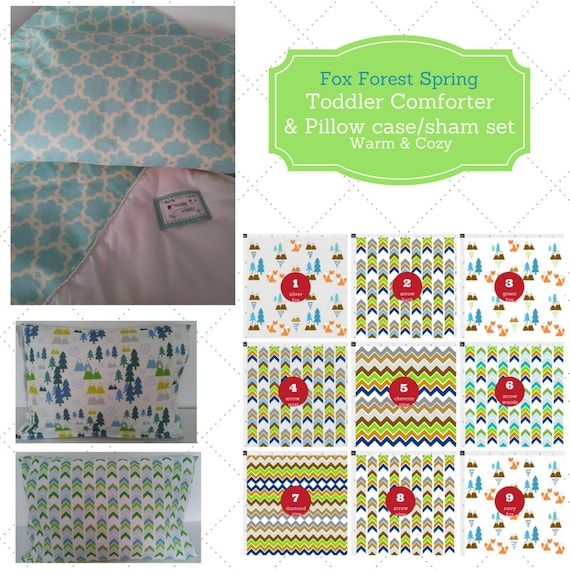 Toddler Comforter Set - Fox Forest Spring, Custom Bedding, Pillow Case / Sham, Kids Comforter, Nature Arrow Mountain Fox Chevron Bedding