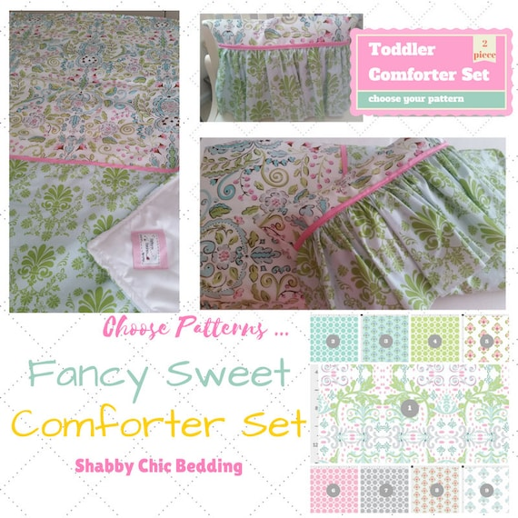 Fancy Sweet Toddler Comforter Set - Chantilly Spring Pink Damask Custom Bedding, Pillow Case / Sham, Shabby Chic, Kids Comforter Throw