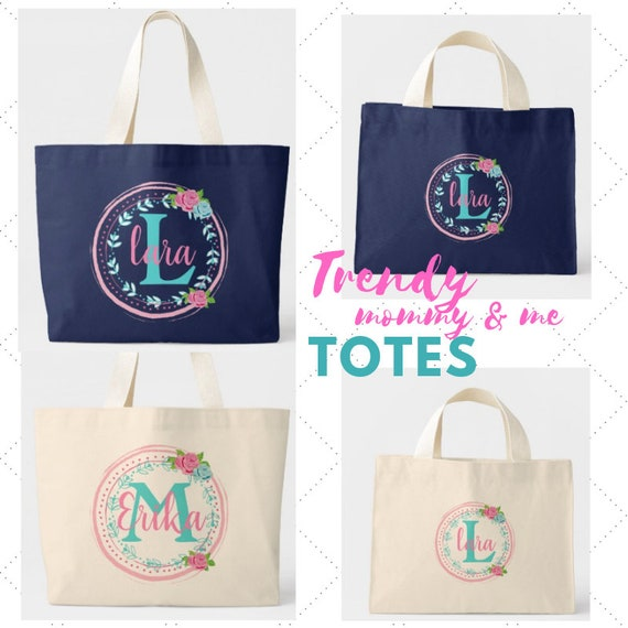 PERSONALIZED Bag - Mom Hospital Ready Bag, Monogrammed Tote, Overnight Bag, Big Sister Tote, Mommy & Me Bag - Rose Tropic Shabby Chic
