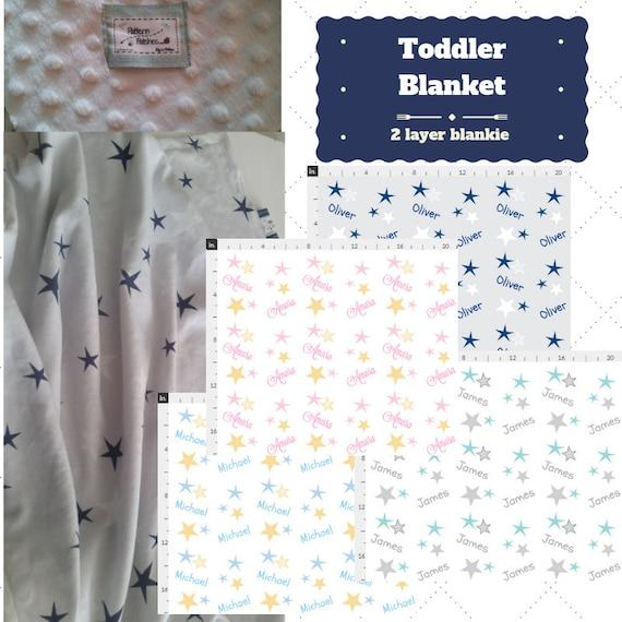 Personalized Blanket - Stars Pink, Baby Blue, Navy, Gray - Organic Knit, Gauze, Minky  24x32 Newborn, 32x50 Toddler Kids Blanket, Boys, Girl