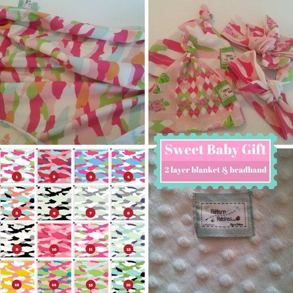Custom Gift - Newborn Baby / Toddler Blanket & Headband, Beanie Hat - Organic Cotton, Minky - Camo Tropics, Shabby Chic Floral Quilt