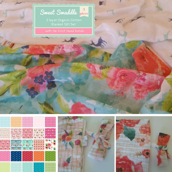 Muslin Reversible SMALL Newborn Swaddle Gift Set - Organic Sweet Pea Gauze Baby Toddler Blanket & Headband -Watercolor Floral Deer Creatures