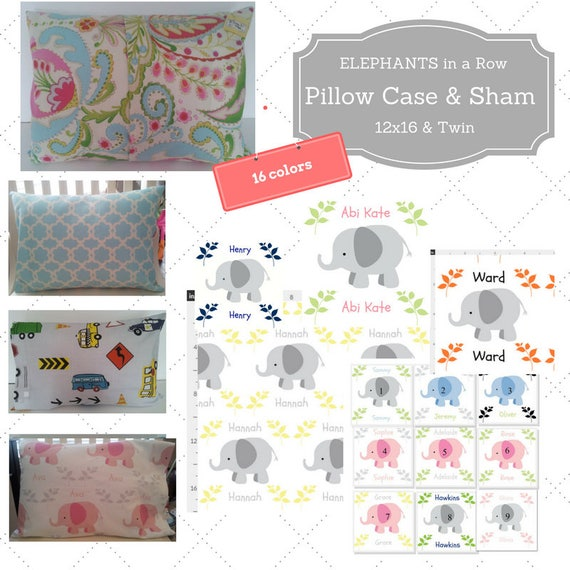 Personalized Pillow Case / Sham 12x16 & Twin - Elephants in a Row Custom Designer Fabric, Nursery Decor, Zoo Animal Kids Bedding, 16 colors