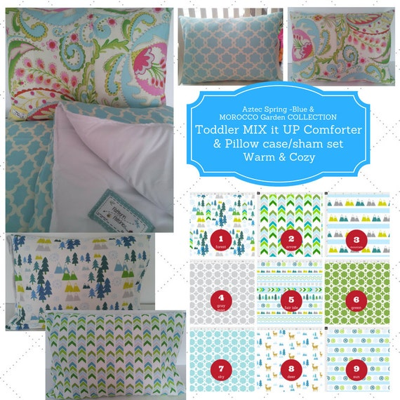 Mix it Up Toddler Comforter Set - Aztec Spring Blue, Morocco Garden, Custom Bedding, Pillow Case / Sham, Kids Comforter Set