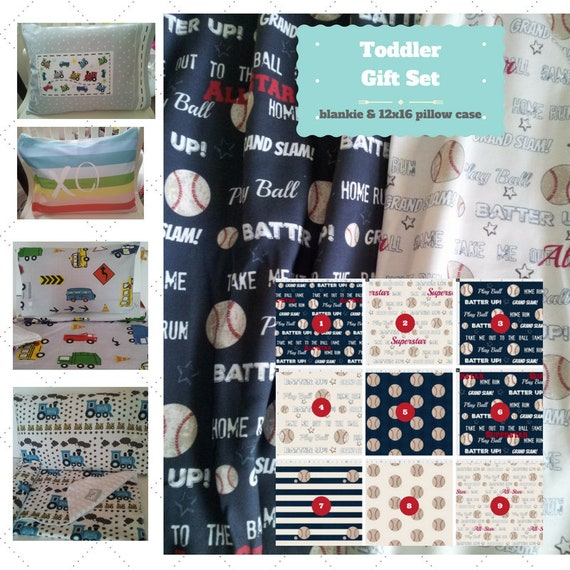 Toddler Blanket Set - Baseball Custom Bedding, Pillow Case / Sham, Kids Cotton & Minky Blanket