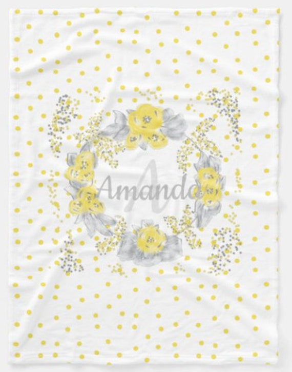 Personalized Blanket / Pillow - Farmhouse Floral Polka Dot Yellow Gray Baby Girl & Toddler size Plush and Minky Sherpa Name Monogram Blanket