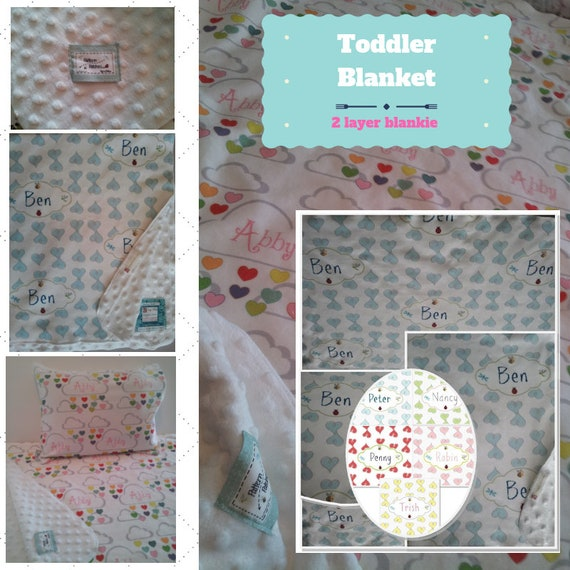 Personalized Blanket / Sham-Heart Doodles & Rainbow | organic cotton,minky baby blanket, 24x32 Newborn, 32x50 Toddler Kids Blanket