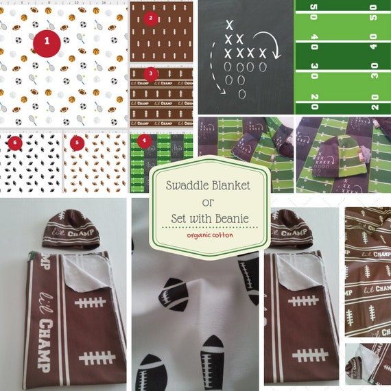 Organic Newborn Swaddle Blanket Set, Baby Hat, Muslin, Jersey Knit Hospital Swaddle Receiving Blanket - Football Sports