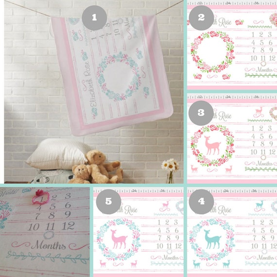 PERSONALIZED Monthly Milestone Blanket, Newborn Photo Dropcloth- Minky Plush, Fleece, White Sherpa - Shabby Chic Floral Wreath & Deer