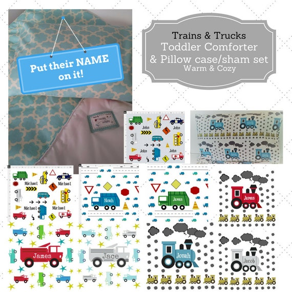 Personalized Toddler Comforter Set - Trains & Trucks, Custom Bedding, Pillow Case / Sham, Kids Comforter Throw, Metropolitan Decor