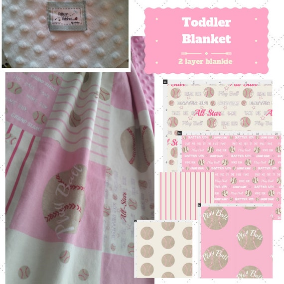 Toddler / Baby Blanket / Pillow Sham - Baseball Pink 7 patterns - organic cotton,minky blanket, 24x32 Newborn, 32x50 Toddler Kids Blanket