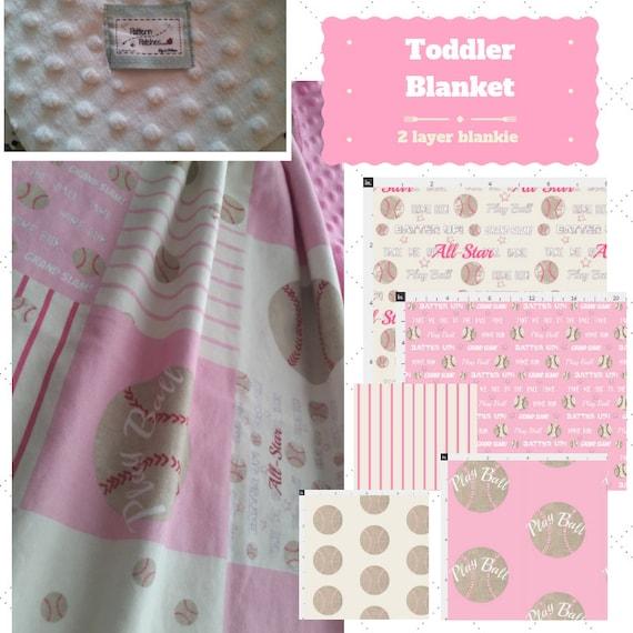Toddler / Baby Blanket / Pillow Sham - Baseball Pink 7 patterns - organic cotton,minky blanket, 24x32 Newborn, 32x50 Toddler Kids Blanket