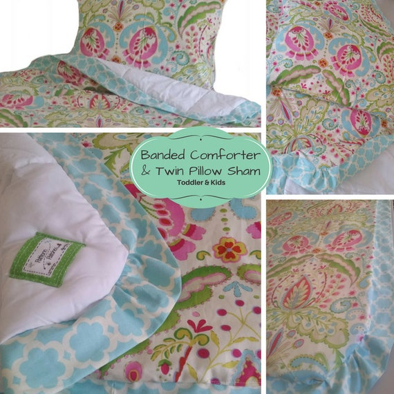 XL Toddler Comforter Set  - Custom Kids Bedding Kumari Garden Comforter with Banding & Twin Pillow Sham