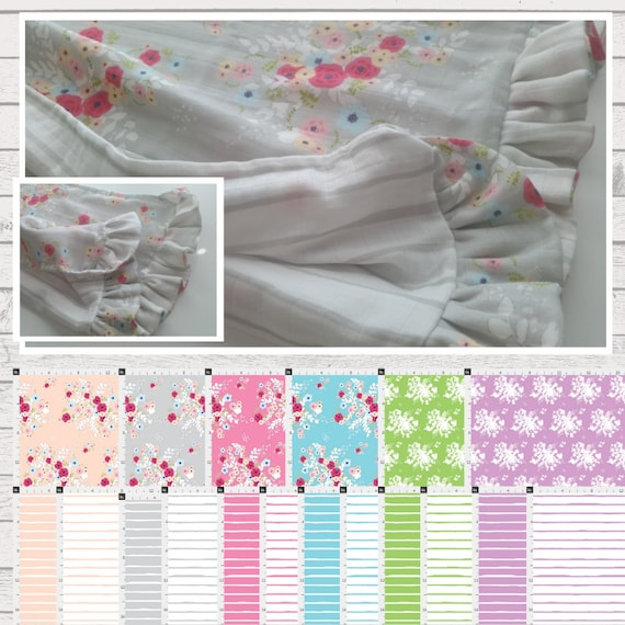 Shabby Chic Ruffle Fancy Reversible Newborn Baby & Toddler Organic Knit, Gauze or Minky Blanket | Tapestry Bouquet Stripes