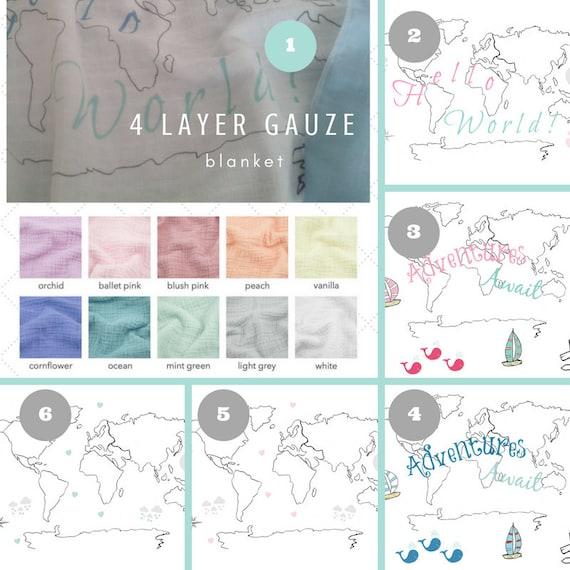 2 Layer Double Gauze / Muslin Blanket - Organic Sweet Pea Gauze Newborn / Baby Blanket - Map World Black & White / Hello World |  Adventures