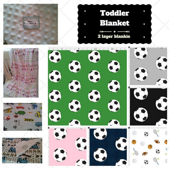 Toddler / Baby Blanket / Sham - Soccer / Sports - organic cotton, minky blanket, 24x32 Newborn, 32x50 Toddler Kids Blanket