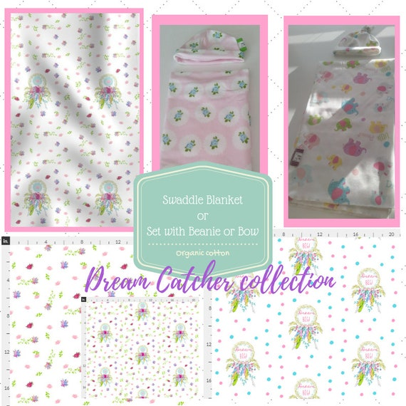 Organic Newborn Swaddle Receiving Blanket / Hat / Bow   Double Gauze or Jersey Knit Hospital Swaddle -Dream Catcher Floral