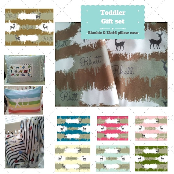 Toddler Gift Set - Custom Camo Deer Personalized Blanket & Pillow Case - Organic Cotton Kids Name Blanket / Birthday Gift / 7 Colors