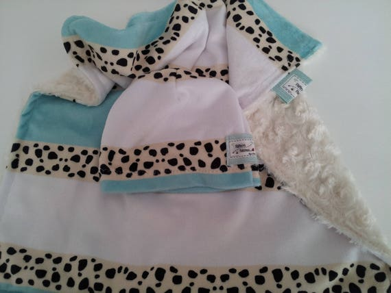 Lovie 2 Pillow Newborn Gift Set - Hospital Beanie Hat | Mint Cheetah Stripes Minky Security Lovie Coming Home Gift, READY to SHIP