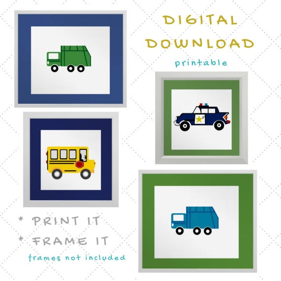 Digital Download - Boy Nursery Wall Art - Cars & Trucks - Garbage Truck Green and Blue, School Bus, Police Car - set of 4 Printables