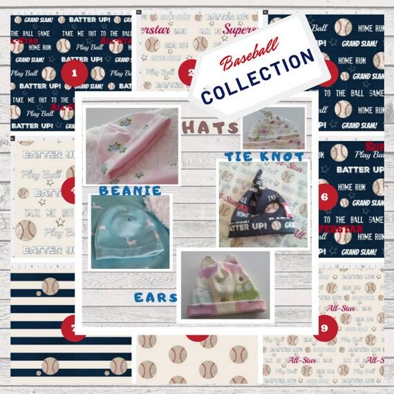 Baby Hats - Organic Cotton Jersey Knit Hat, Newborn Beanie, Top Knot Beanie, Ear Hat - Vintage Baseball & Stripes