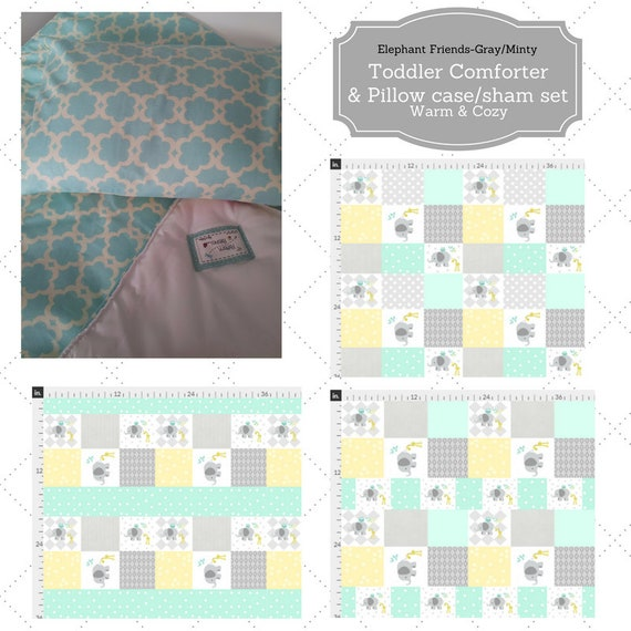 Toddler Comforter Set - Elephant Friends Quilt Minty Gray, Custom Bedding, Pillow Case / Sham, 40x50 Kids Comforter Throw
