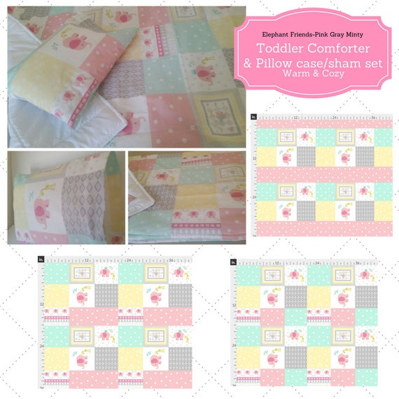 Toddler Comforter Set - Elephant Friends Quilt Pink Minty Gray, Custom Bedding, Pillow Case / Sham, Girl Bedding, 40x50 Kids Comforter Throw