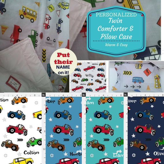 Personalized TWIN Comforter | Pillow Case Set - Jeeps & Pickup Trucks | Kids Custom Bedding,  Kids Comforter